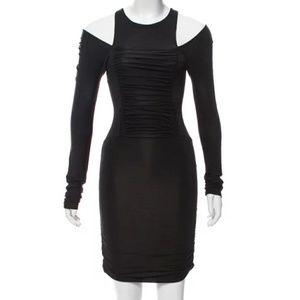 Pierre Balmain Rouched Cold Shoulder Bodycon Dress